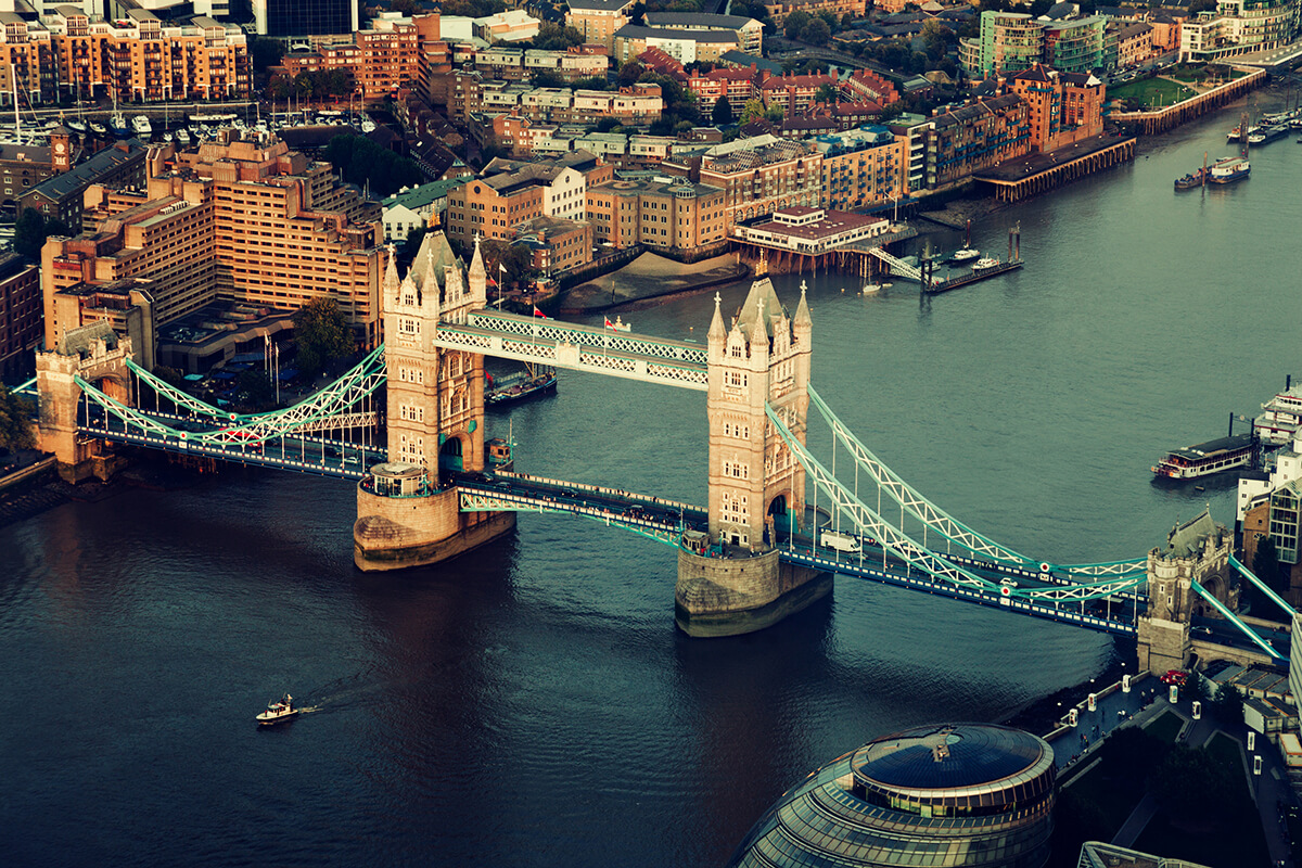 London tower bridge aerial