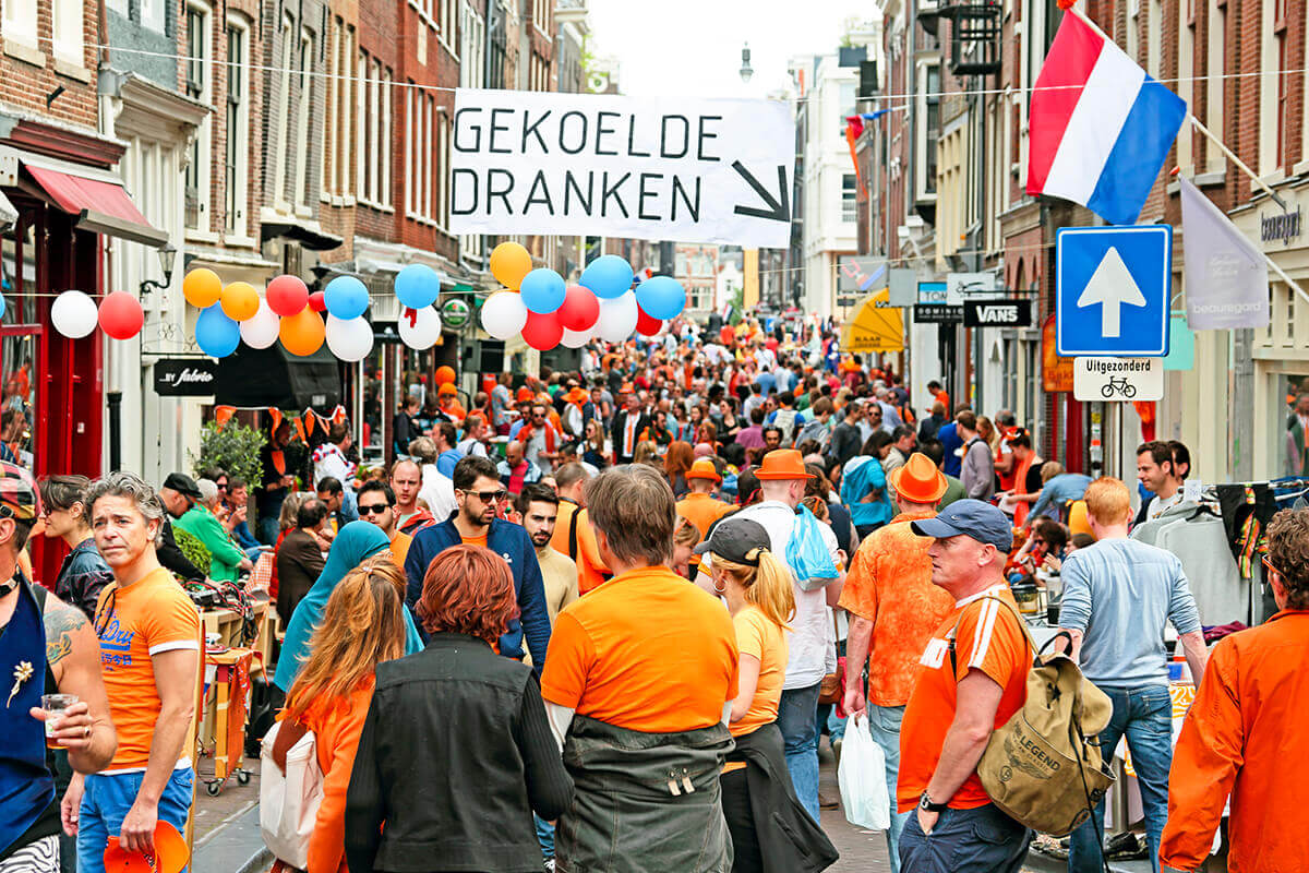 Amsterdam Orange day busy street