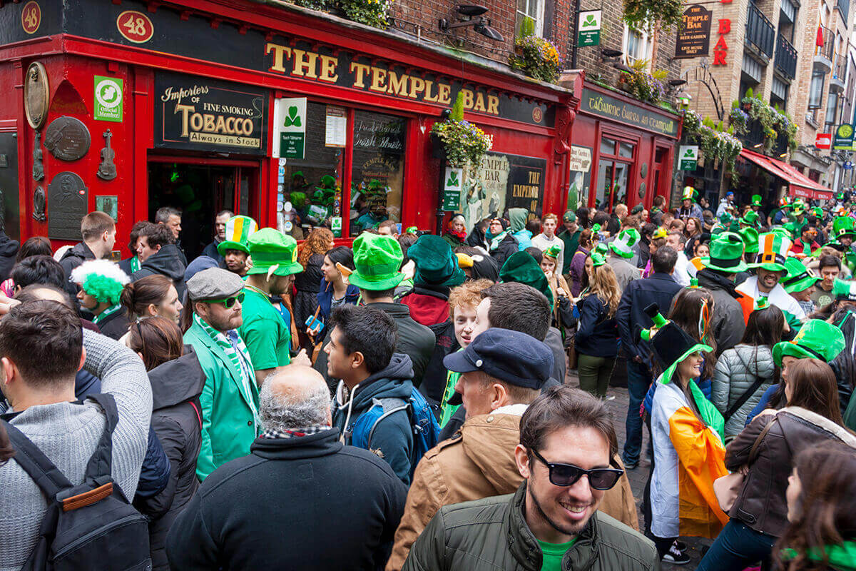 People outside Irish bar