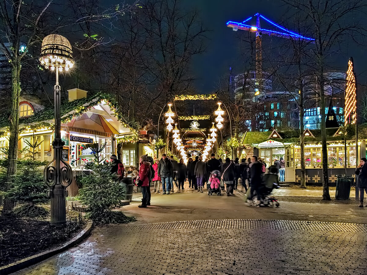 Denmark christmas, market, night, lights