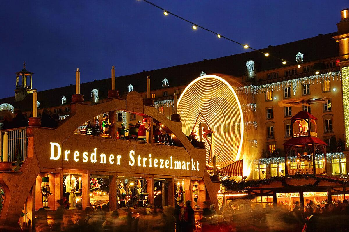 Dresden Christmas market night lights