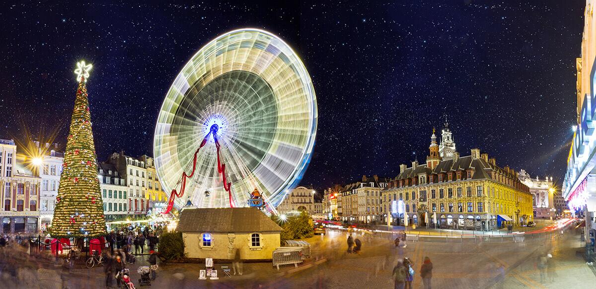 Lille Christmas market lights tree wheel