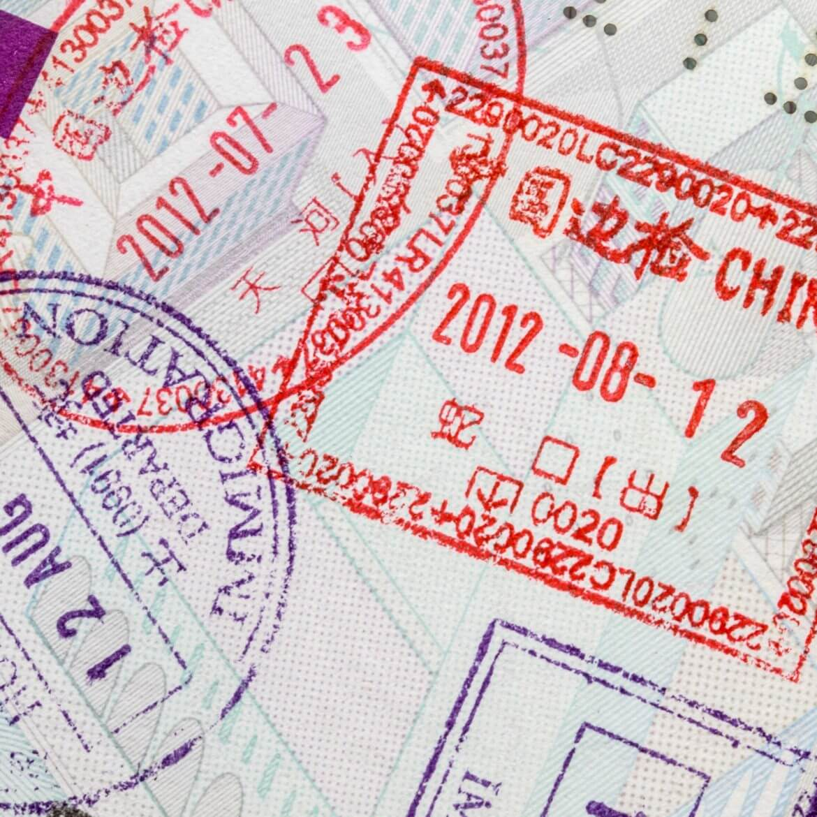 travel documents stamped