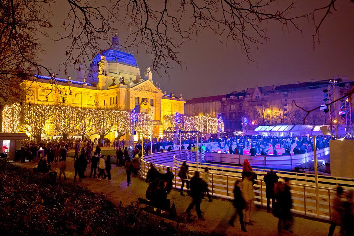 Zagreb ice skating Christmas lights