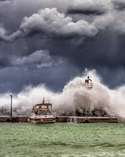 docks boat storm dark clouds